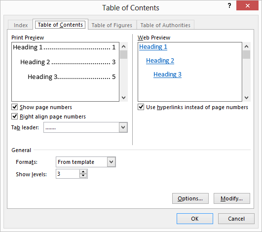 Table of Content in MS Word 2013